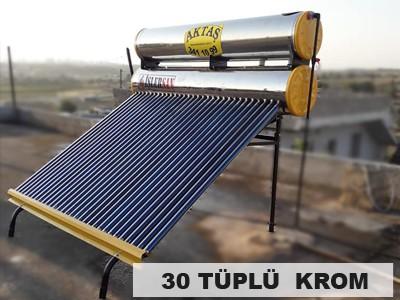 30 Vakum Cam Tüplü Paslanmaz Krom Güneş Enerjisi Adana