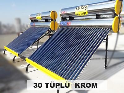 30 Vakum Tüplü Paslanmaz Krom Güneş Enerjisi Adana